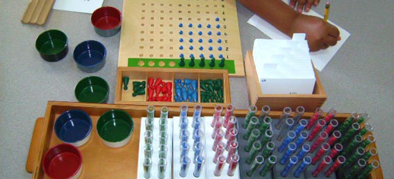 Montessori Student Working